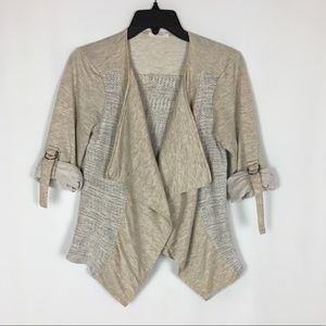 Maurices 3/4 Sleeve Cascading Open Front Cardigan